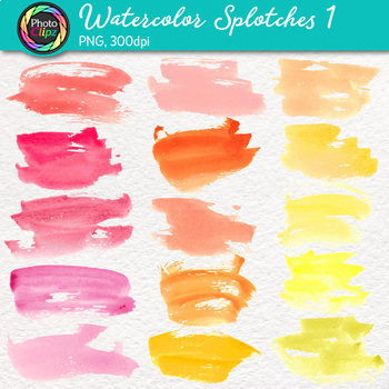 Watercolor Splotches Clip Art {Hand-Painted Watercolor Textures in Warm Color} 1
