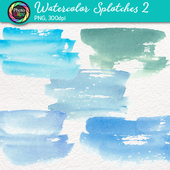Watercolor Splotches Clip Art {Hand-Painted Watercolor Textures in Cool Color} 2