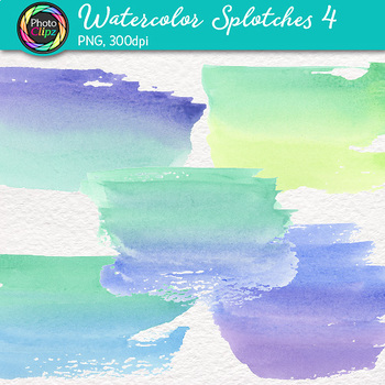 Watercolor Splotches Clip Art {Hand-Painted Watercolor Textures in Cool Color} 4