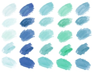 Watercolor Splotches, blue, hand painted brush strokes