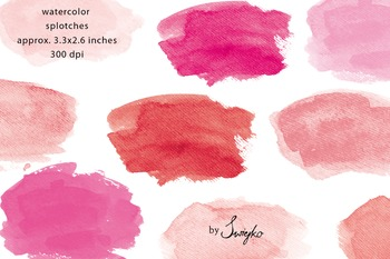 Watercolor Splotches, pink, hand painted brush strokes