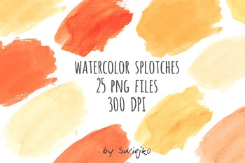 Watercolor Splotches, yellow, orange, hand painted brush strokes