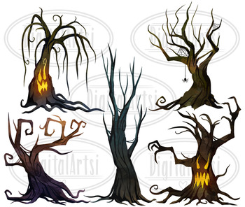 Watercolor Spooky Trees Clipart