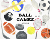 Watercolor Sports Clipart, Ball Games Clipart, Sports Grap