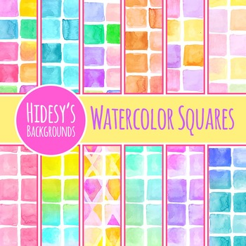 Watercolor Square Tile Background / Pattern / Digital Paper Commercial Use