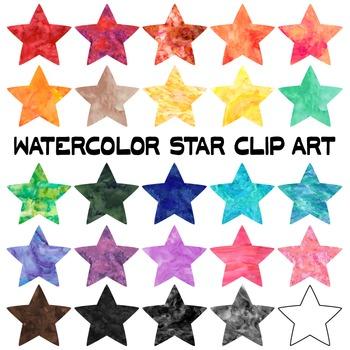 Watercolor Star Clip Art