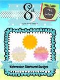 Watercolor Starburst Badges