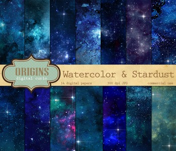 Watercolor Starfield Digital Paper - Outer Space Backgrounds