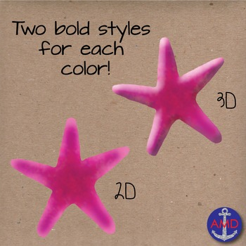 Watercolor Starfish Digital Clip Art- Bright Summer Colors