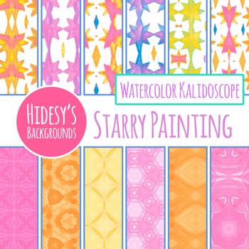 Watercolor Starry Painting Digital Paper / Backgrounds Clip Art Set