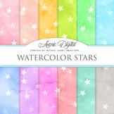 Watercolor Stars Digital Paper bright watercolour pattern scrapbook background