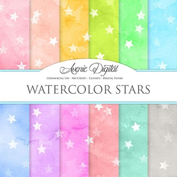 Watercolor Stars Digital Paper bright watercolour pattern scrapbook background