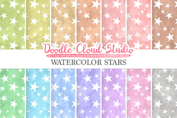 Watercolor Stars digital paper, Stars patterns, pastel watercolor night sky