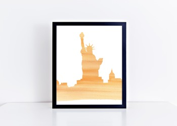 Watercolor Statue of Liberty Printable in Multiple Colors // American History