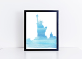 Watercolor Statue of Liberty Printable in Multiple Colors