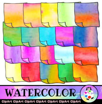 Watercolor Sticky Notes Clip Art