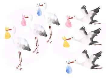Watercolor Stork Clip Art