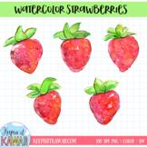 Watercolor Strawberries Clip Art