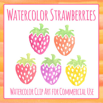 Watercolor Strawberries - Handpainted Digital Clip Art Set for Commercial Use