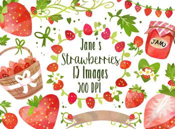 Watercolor Strawberry Clipart