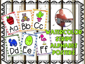 Watercolor Stripe Alphabet Posters