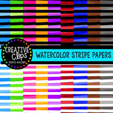 Watercolor Stripe Papers {Creative Clips Digital Clipart}
