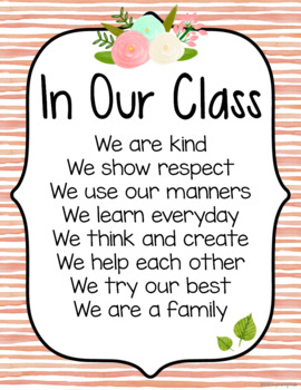 Watercolor Stripes Classroom Rules