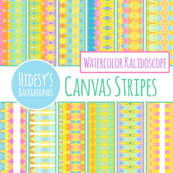 Watercolor Stripes Detailed Painted Backgrounds / Digital Papers Clip Art Set