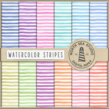 Watercolor Stripes Digital Paper - Bold Lines