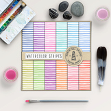 Watercolor Stripes Digital Paper - Bold Lines