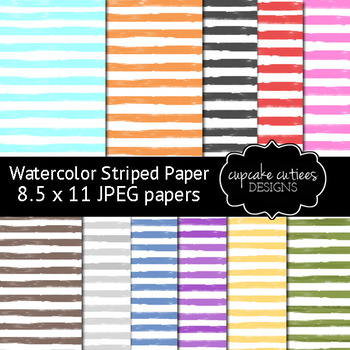 Watercolor Stripes Digital Paper Pack 8.5 x 11 JPEG