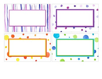 Watercolor Stripes and Dots Classroom Labels
