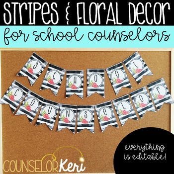 School Counseling Office Decor: Watercolor Stripes and Floral Decor