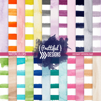 Watercolor Stripes and Solids DigitalPapers