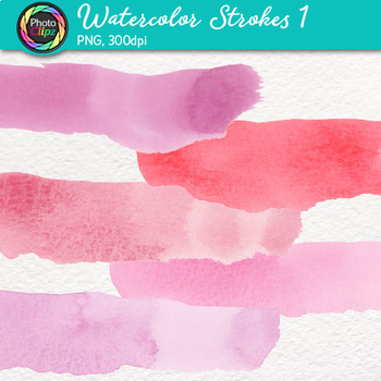 Watercolor Strokes Clip Art {Hand-Painted Watercolor Textures in Warm Colors} 1