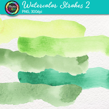 Watercolor Strokes Clip Art {Hand-Painted Watercolor Textures in Cool Colors} 2
