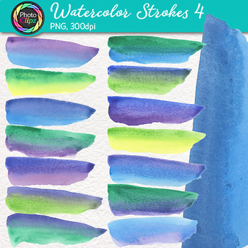 Watercolor Strokes Clip Art {Hand-Painted Watercolor Textures in Cool Colors} 4