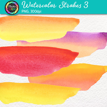 Watercolor Strokes Clip Art {Hand-Painted Watercolor Textures in Warm Colors} 3