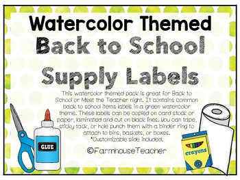 Watercolor Student Supply Labels