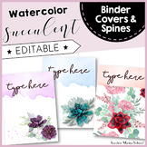Watercolor Succulent Binder Covers and Spines { EDITABLE }