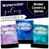 Watercolor Galaxy Space Binder Covers and Spines { EDITABLE }