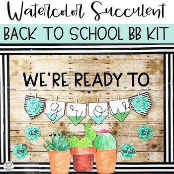 Watercolor Succulent & Cactus Back To School Bulletin Board or Door Kit