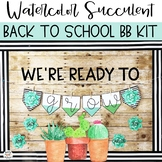 Watercolor Succulent & Cactus Back To School Bulletin Boar