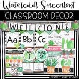 Watercolor Succulent & Cactus Classroom Decor Pack
