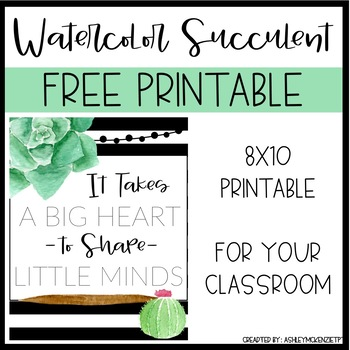 Watercolor Succulent & Cactus Free Classroom Printable