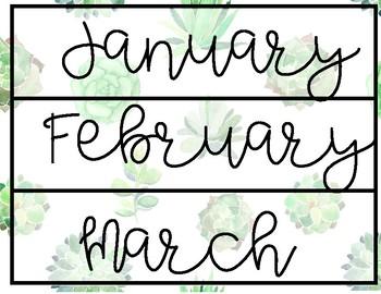 Watercolor Succulent Calendar