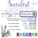 Succulent Cactus Classroom Decor Theme Watercolor | Fully Editable