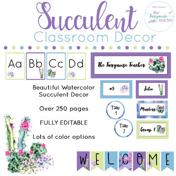 Succulent Cactus Classroom Decor Theme Watercolor Fully Editable
