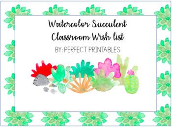 Watercolor Succulent Classroom Wishlist - Editable