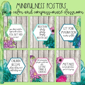 Watercolor Succulent Mindfulness Posters